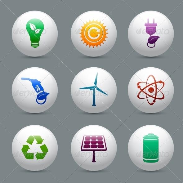 Energy and Ecology Buttons Set - Decorative Symbols Decorative