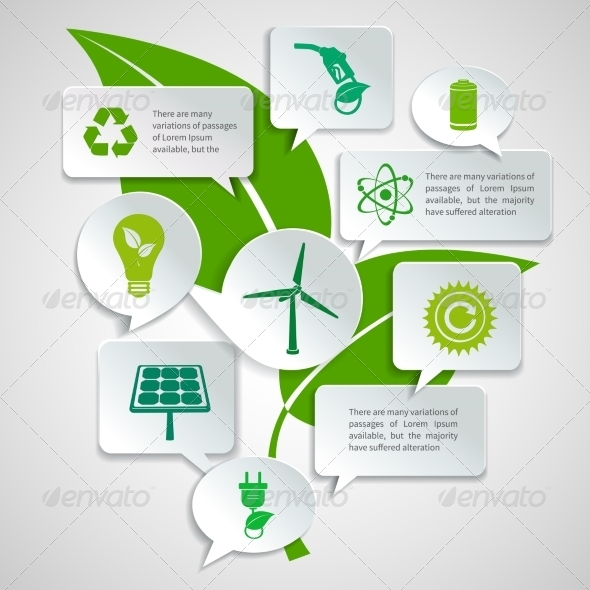 Ecology and Energy Paper Bubbles Infographic - Concepts Business