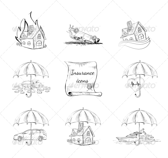 Insurance Security Icons Set - Web Elements Vectors