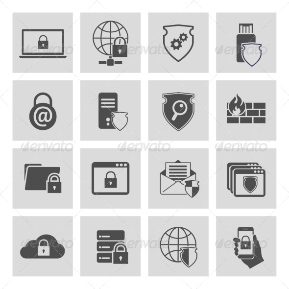Information Technology Security Icons Set - Web Technology