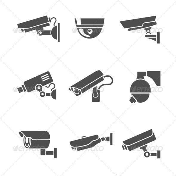 Security Cameras Icons Set - Web Elements Vectors