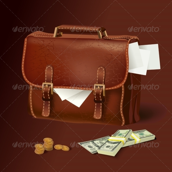 Leather Briefcase with Documents and Money - Concepts Business