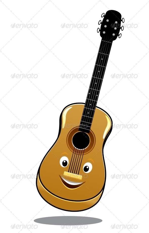 Cartoon Wooden Country Guitar - Miscellaneous Characters