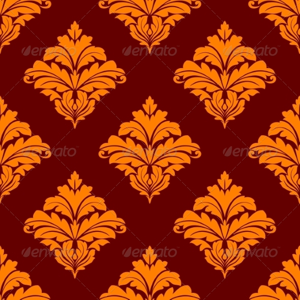 Red and Orange Floral Seamless Pattern - Patterns Decorative