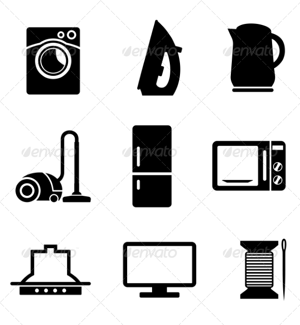Set of Home Appliances Icons - Man-made Objects Objects