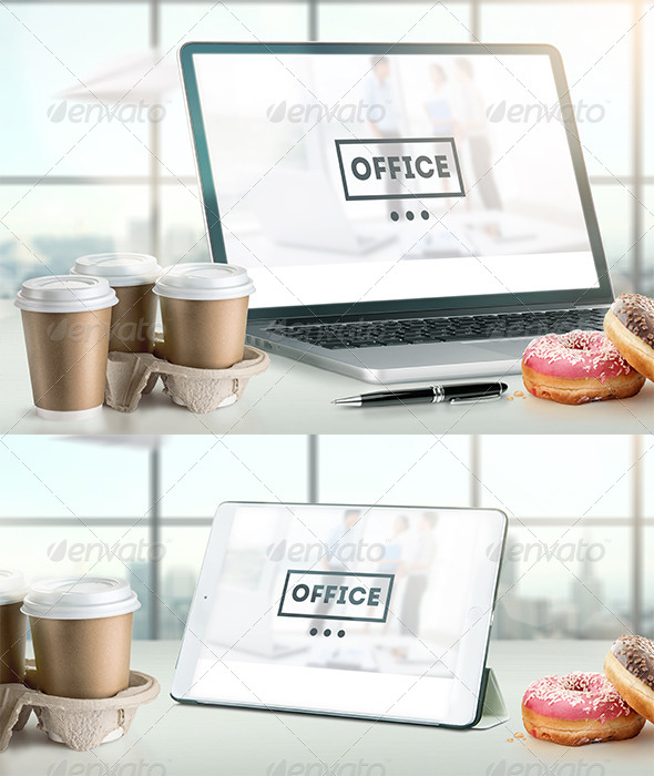 Mock-Up Laptop and tablet (PSD). Office style - Laptop Displays