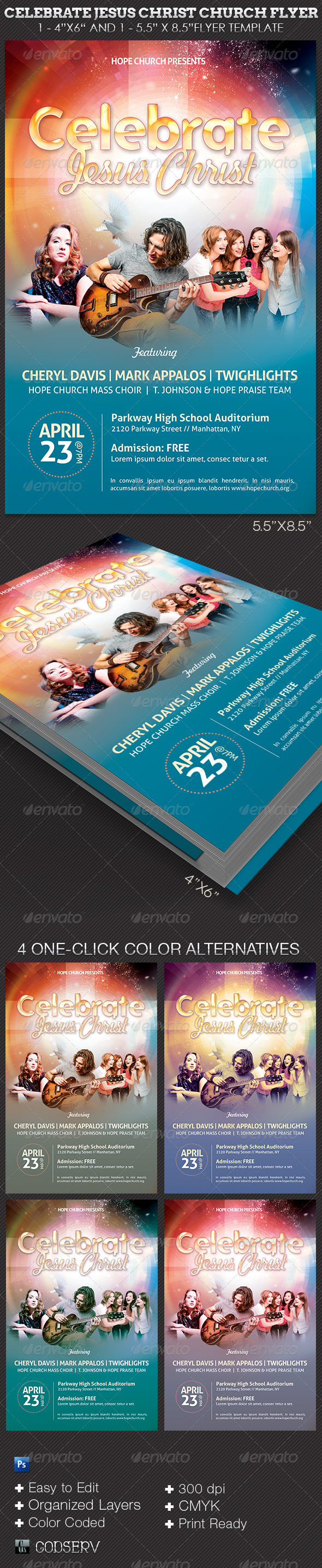 Celebrate Jesus Christ Concert Flyer Template - Church Flyers