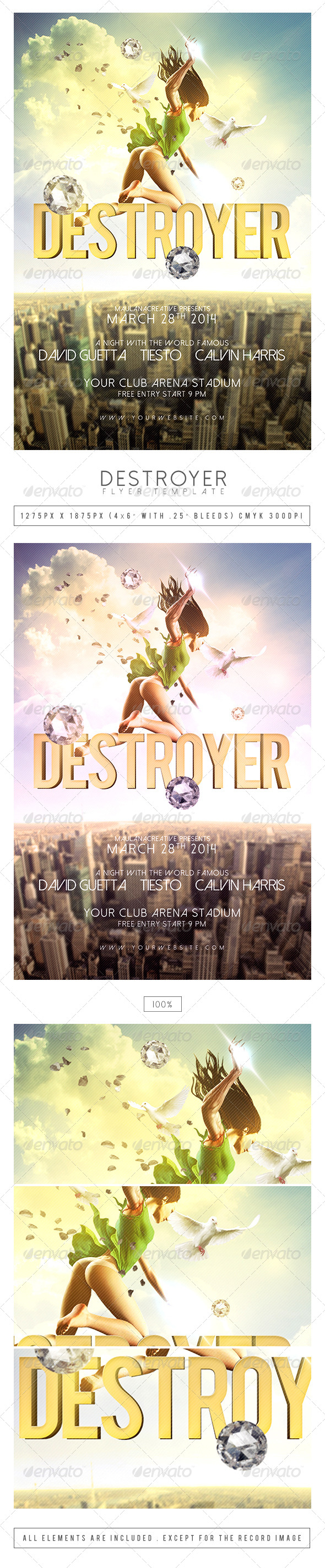 Detroyer Flyer Template - Clubs & Parties Events