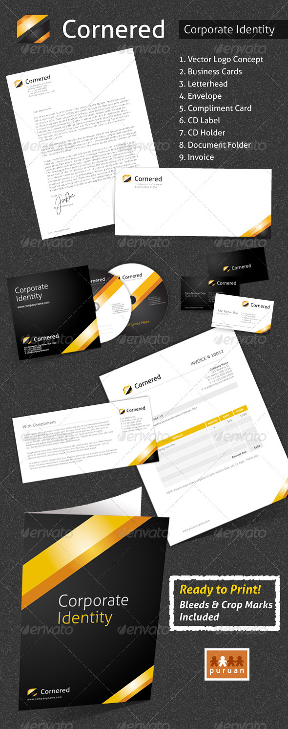 Corporate Identity - Cornered - Stationery Print Templates