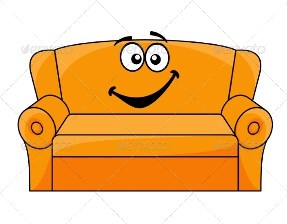 Cartoon Upholstered Couch - Man-made Objects Objects