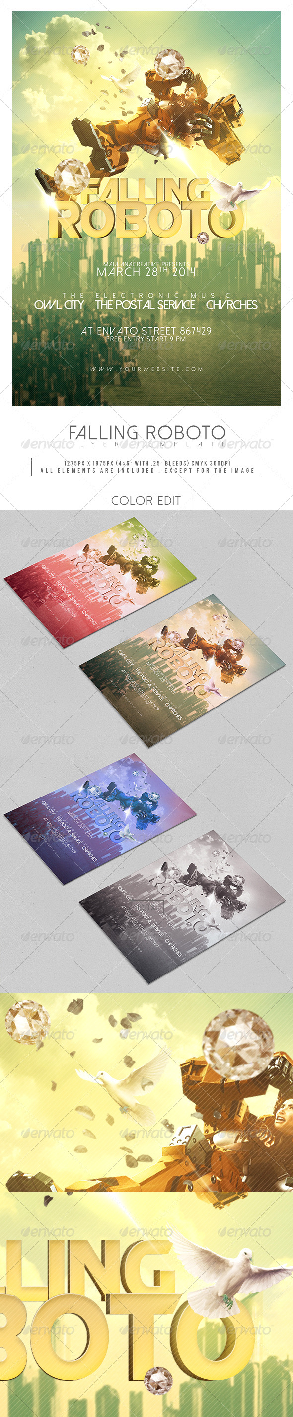 Falling Roboto Flyer Template - Concerts Events