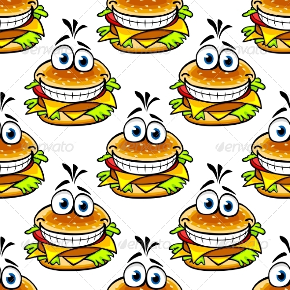 Seamless Cartoon Cheeseburger Pattern - Food Objects
