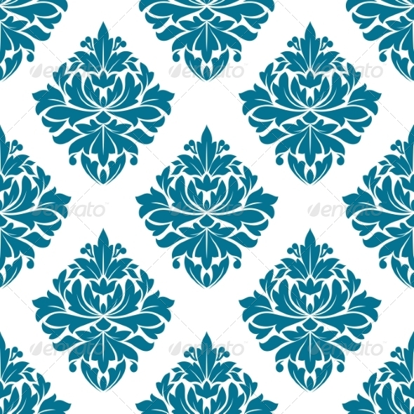Ornate Blue Damask Style Floral Pattern - Miscellaneous Characters