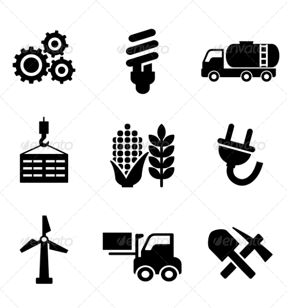 Set of Energy and Industry Icons - Industries Business