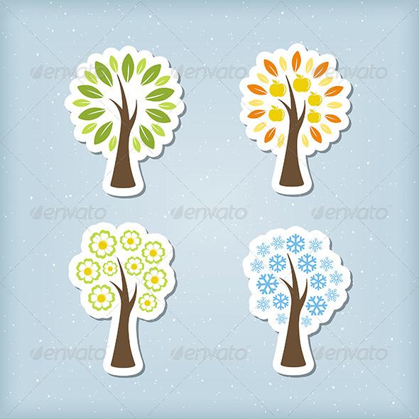 Four Season Tree Icons - Web Elements Vectors