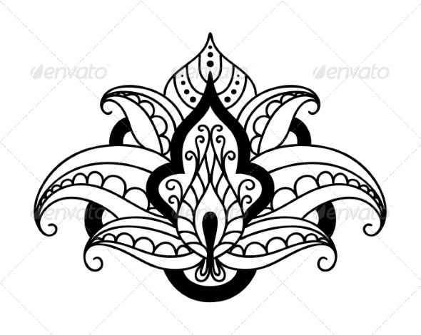 Persian Floral Design Element - Flourishes / Swirls Decorative