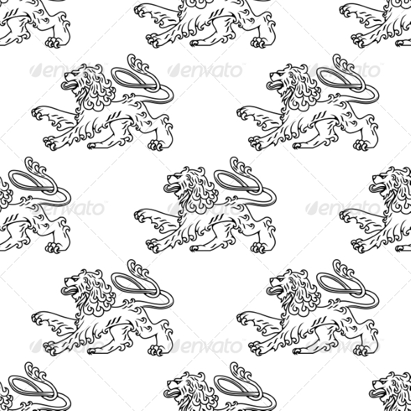 Seamless Pattern of a Vintage Heraldic Lion - Patterns Decorative