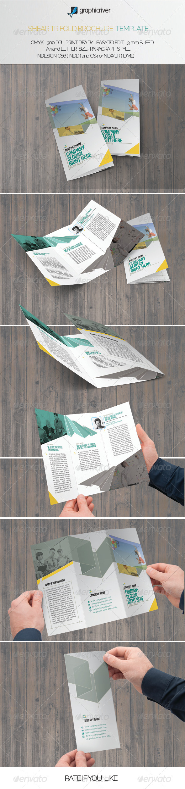 Shear Trifold Brochure Template - Brochures Print Templates