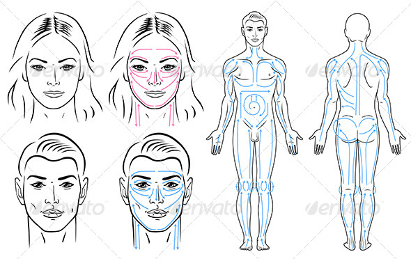 Facial and body massaging lines for man and woman - People Characters