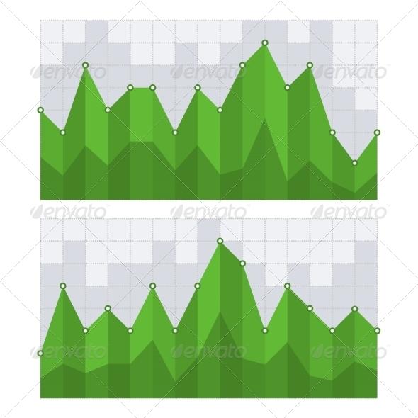 Green Business Diagram Graph Chart. Vector - Web Technology