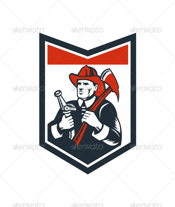 Fireman Firefighter Carry Axe Hose Shield Woodcut - People Characters