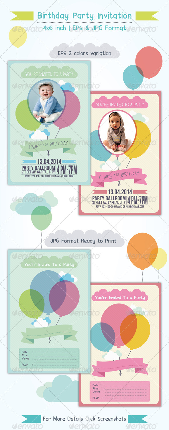 Balloon Birthday Invitation - Invitations Cards & Invites