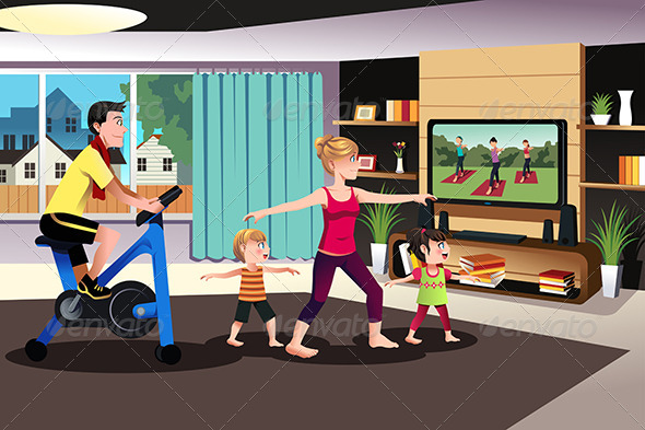 Healthy Family Exercising Together - Sports/Activity Conceptual