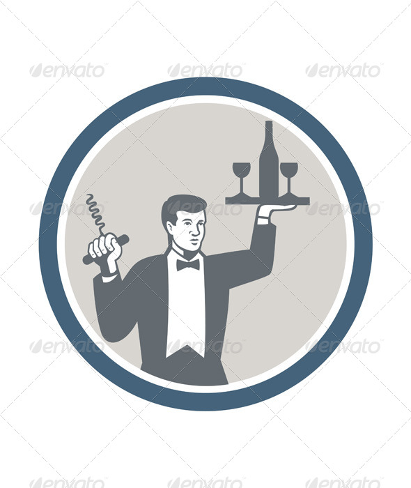 Waiter Serving Wine Bottle on Platter Retro - People Characters