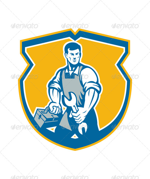 Mechanic Holding Spanner Wrench Toolbox Crest Retro - People Characters