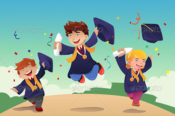 Students Celebrating Graduation - People Characters