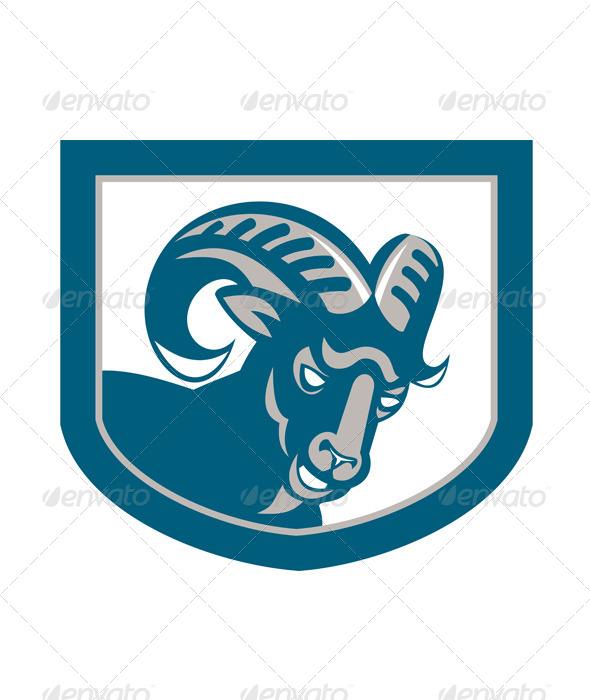 Mountain Goat Ram Head Shield Retro - Animals Characters