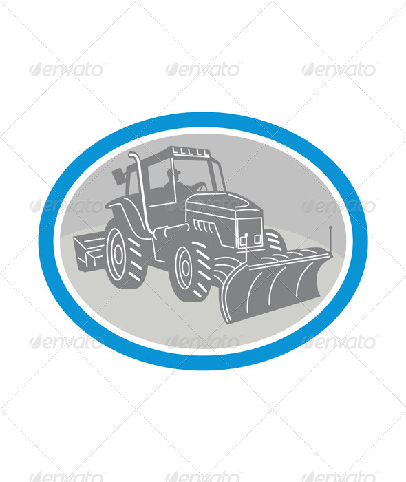 Snow Plow Truck Oval Retro - Travel Conceptual