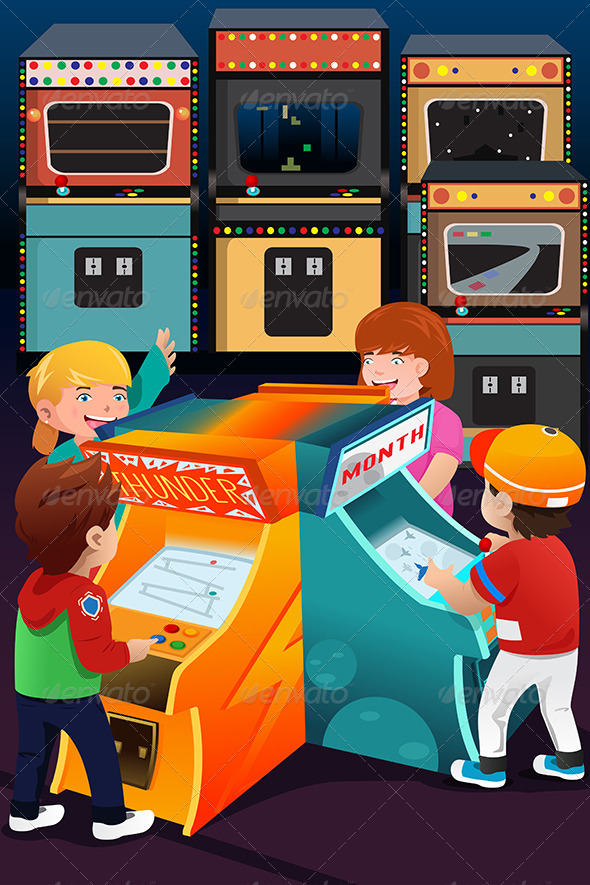 Kids Playing Arcade Games - People Characters