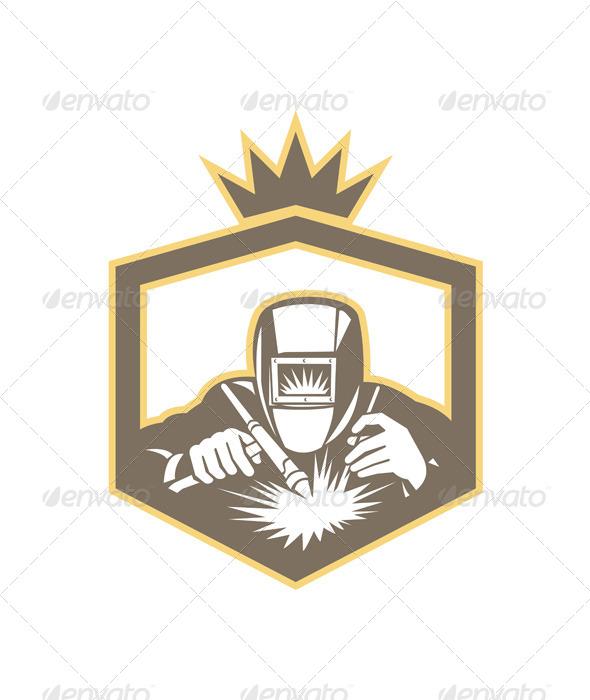Welder Fabricator Welding Torch Shield Retro  - People Characters