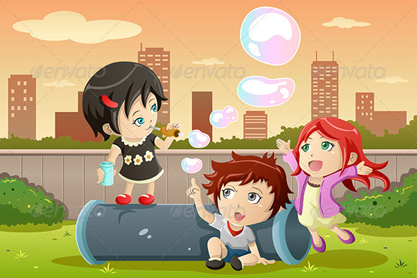 Kids Playing Bubbles - People Characters