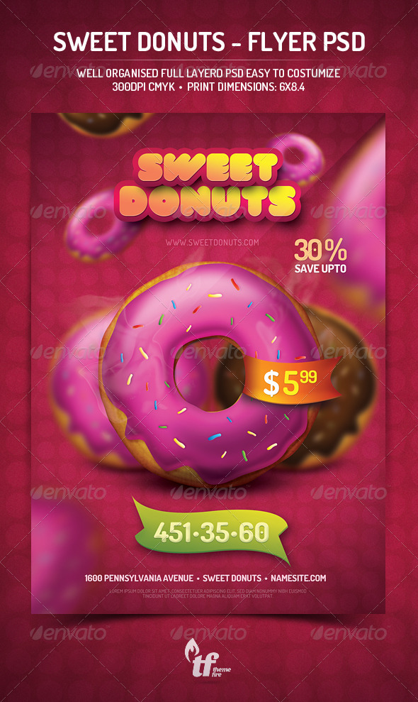 Sweet Donuts - Flyer PSD Template - Restaurant Flyers