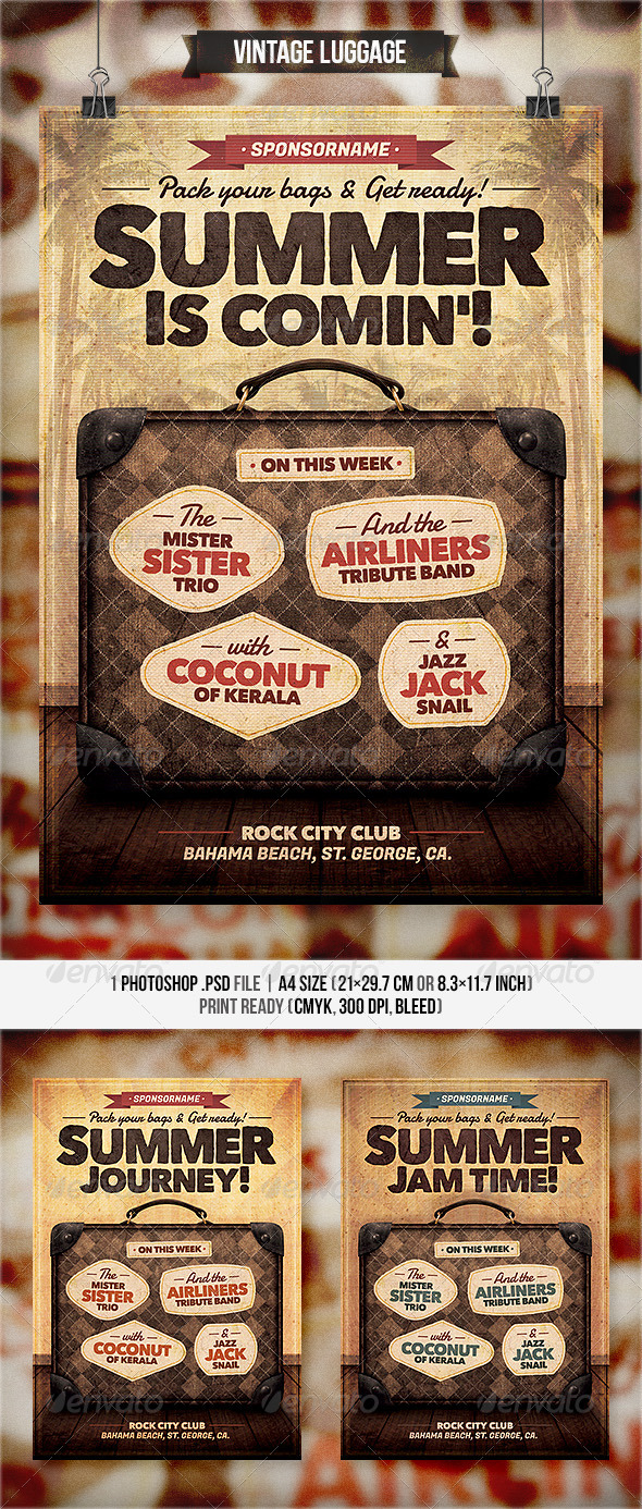 Vintage Luggage - Flyer & Poster - Concerts Events