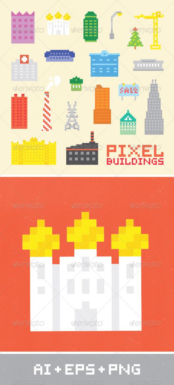 Pixel Art City Set 2 - Buildings Objects