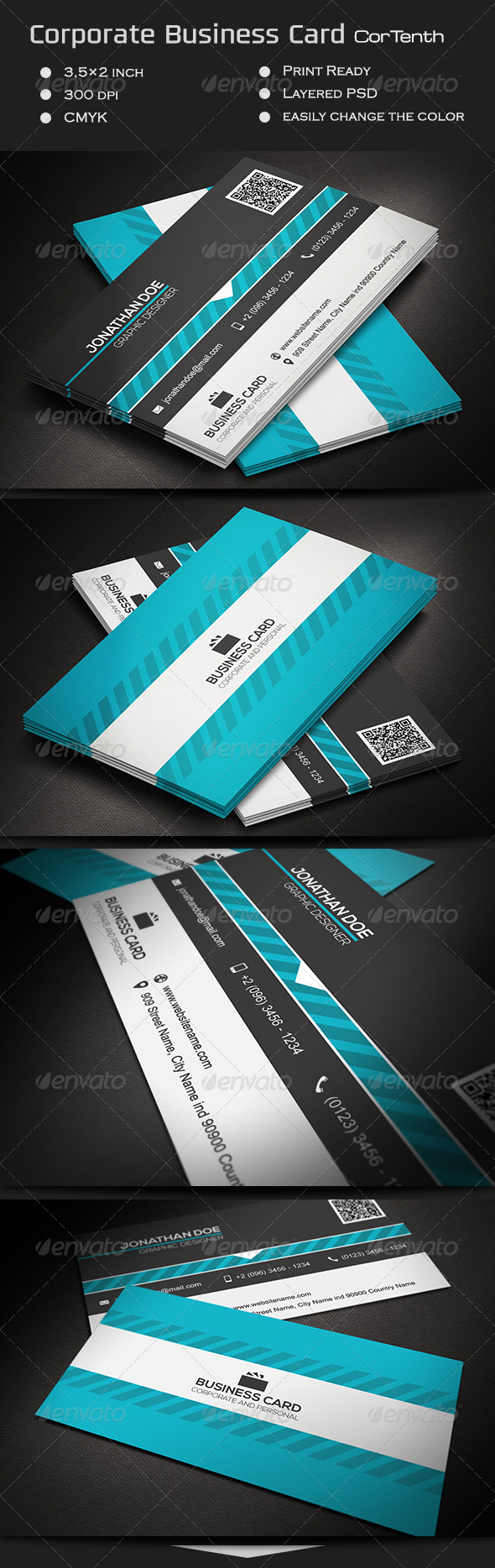 Corporate Business Card CorTenth - Corporate Business Cards