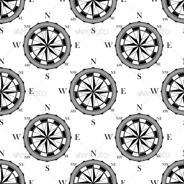 Seamless Pattern of Vintage Compasses - Patterns Decorative