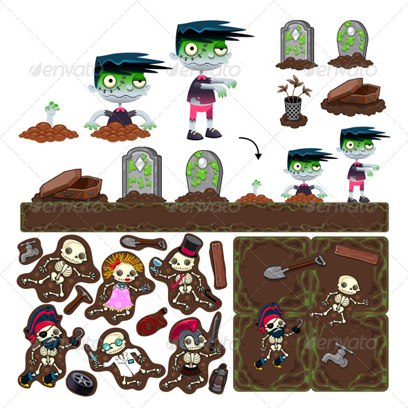 Set of Game Elements with Zombie Characters, Platformer - Characters Vectors