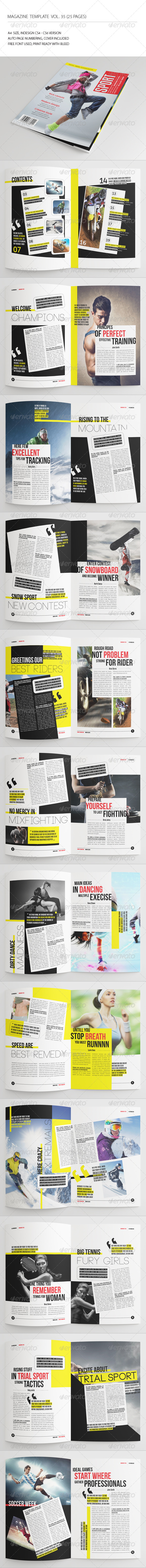 25 Pages Sport Magazine Vol35 - Magazines Print Templates