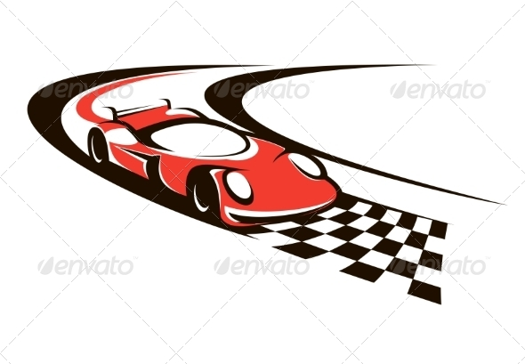 Speeding Racing Car Crossing the Finish Line - Sports/Activity Conceptual