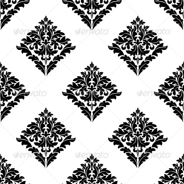 Diamond Shaped Floral Seamless Motif - Patterns Decorative