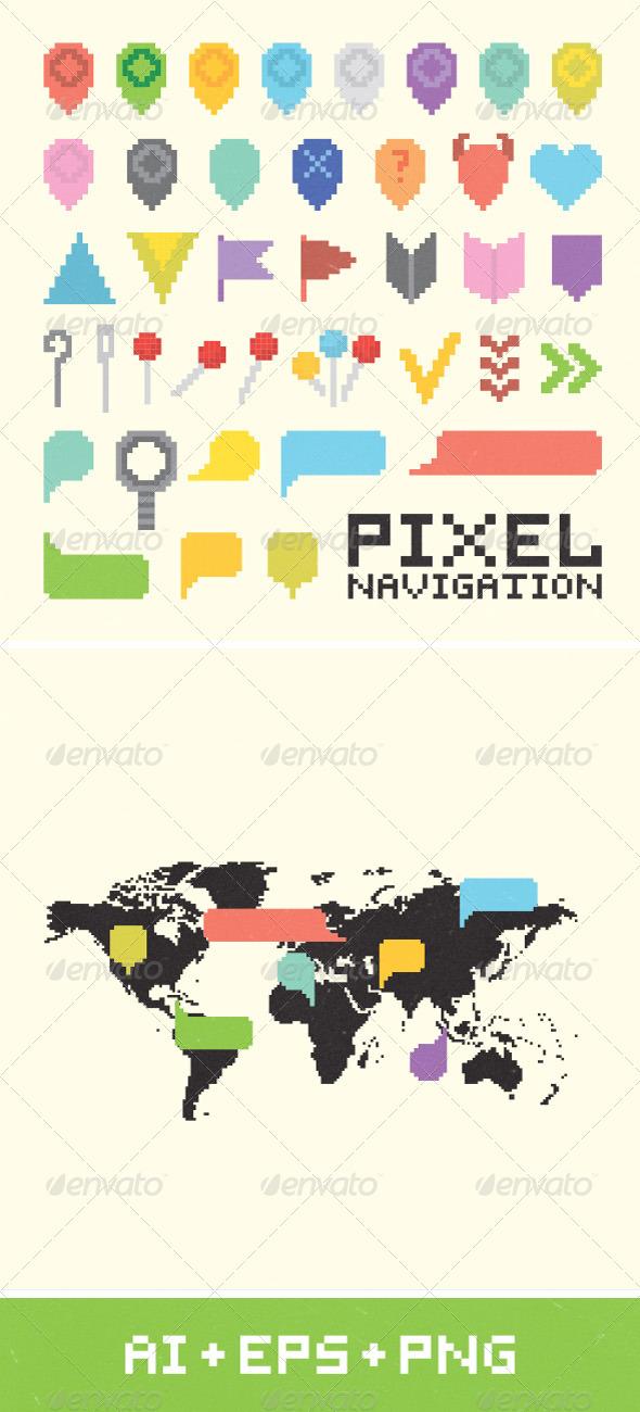 Pixel Art Navigation Set - Web Technology