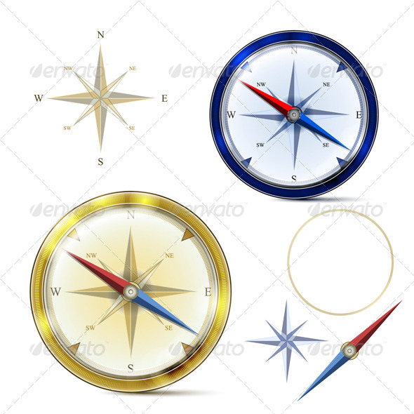 Two Compasses and Elements of Compass  - Objects Vectors