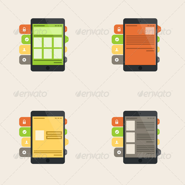 Set of Four Flat Interface Concepts - Concepts Business