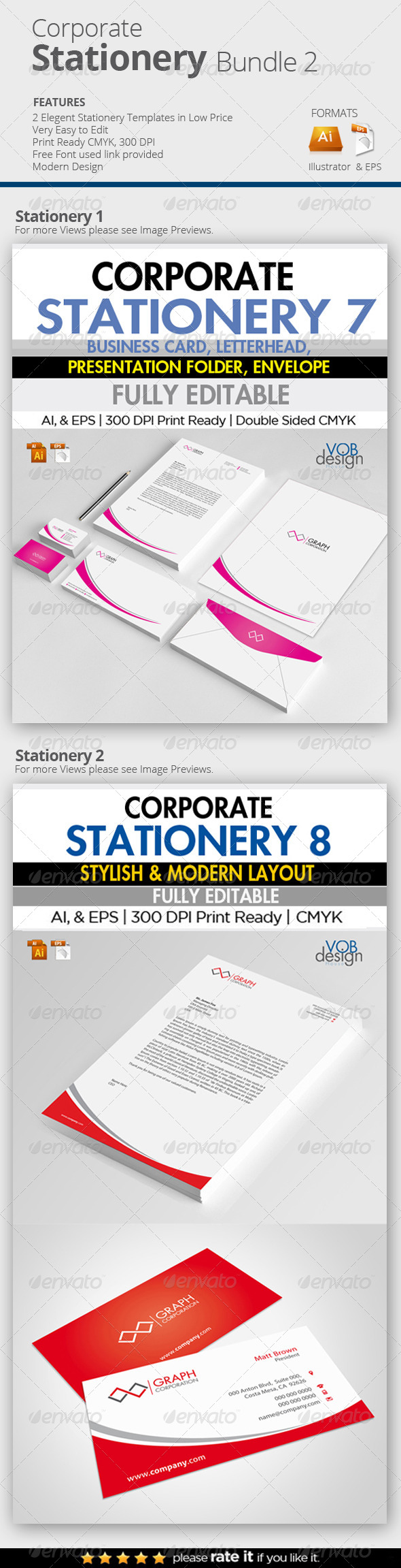 Corporate Stationery Bundle 2 - Stationery Print Templates