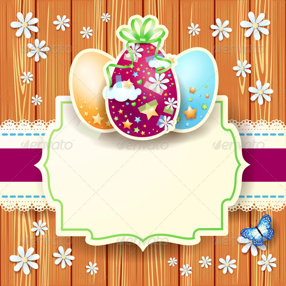 Easter Background with Eggs and Label on Wood - Miscellaneous Seasons/Holidays