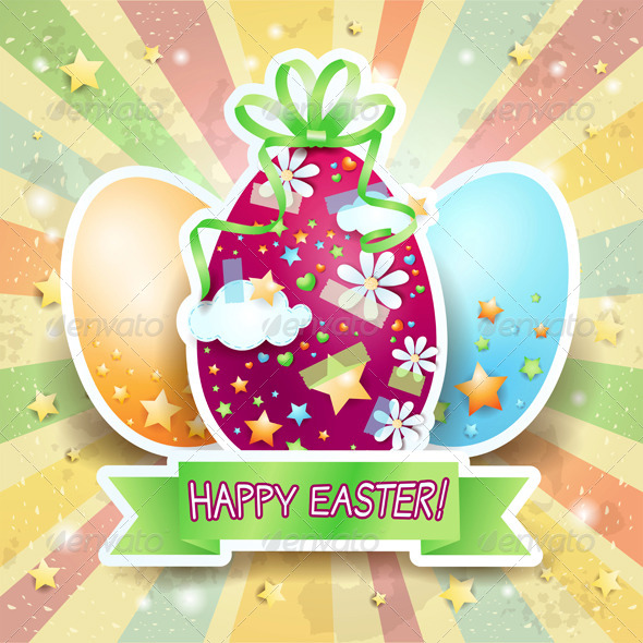 Easter illustration with Eggs on Rays Background - Miscellaneous Seasons/Holidays